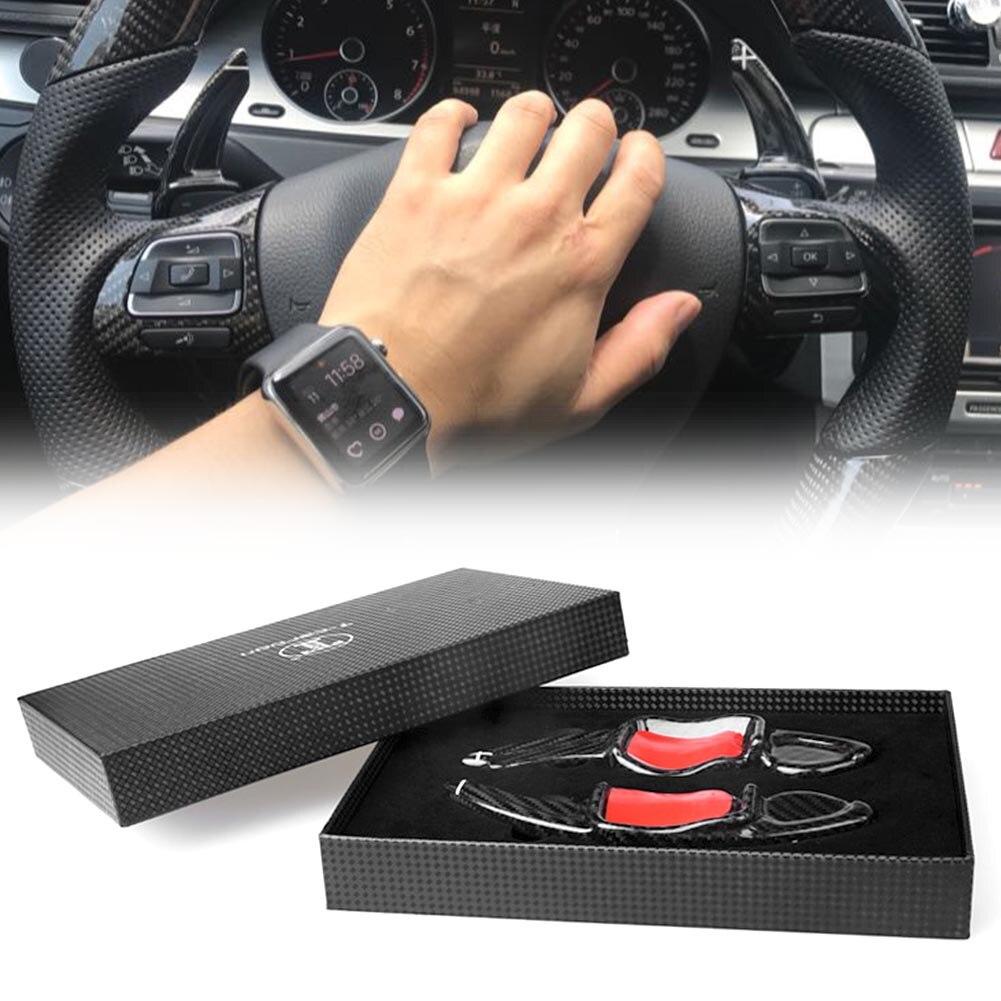 Real Carbon Fiber Steering Wheel Paddle Shift Extension For Volkswagen MK5 MK6 GTI R20 R32 R36