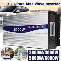 Inverter 12V/24V to AC 220V 3000/4000/5000/6000W Voltage transformer Pure Sine Wave Power Inverter Converter LED Display
