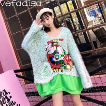 Vefadisa Autumn Cartoon Sweater Women Fake Two Pieces Sweater Loose Holes Sweater Long Sleeves Jumper Tops Big O-Neck ZLD117(China)