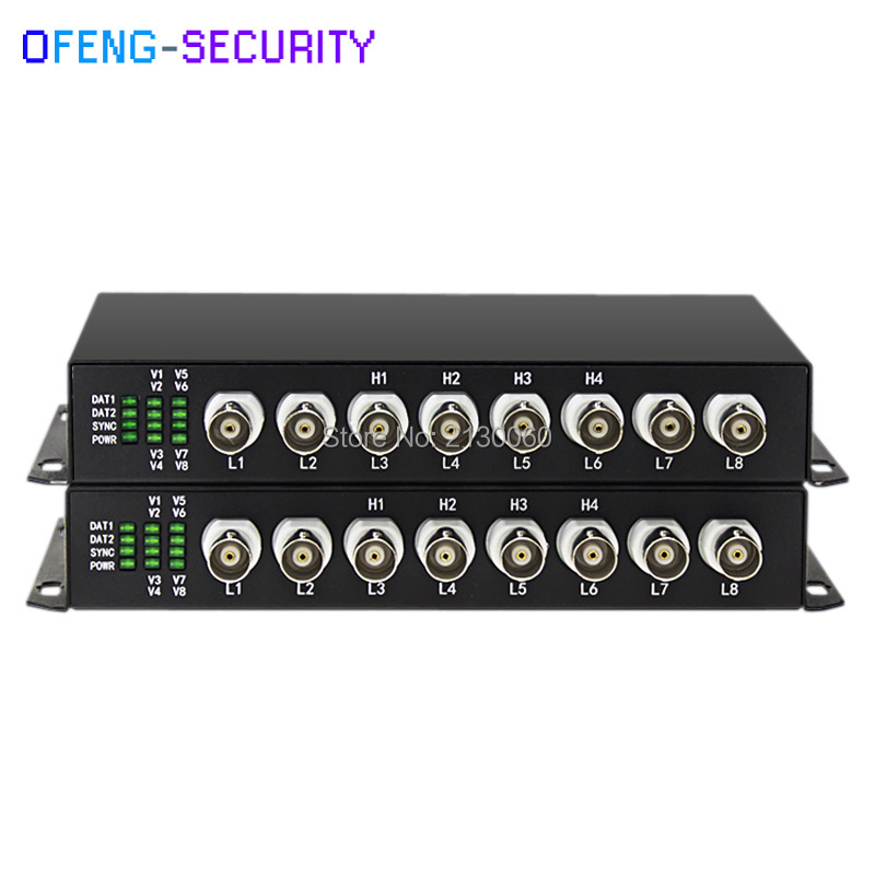 1Pair 8CH AHD/CVI Video Without Data Video Digital Optical Converter, 20KM Optic Fiber Extender, FC Port Transceiver, Singlemode
