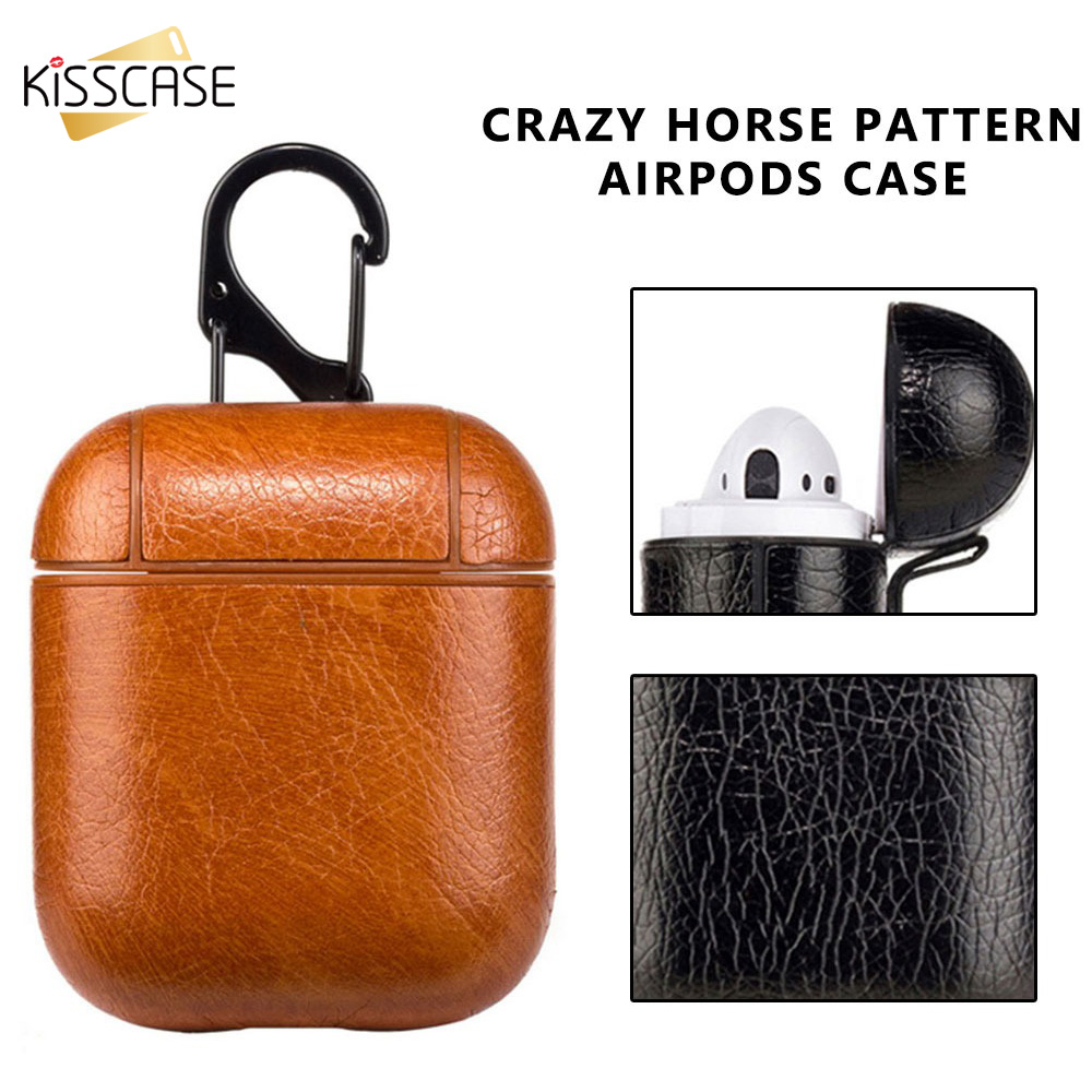 KISSCASE Bluetooth Wireless Earphone Case For Apple Airpods Box Strap Leather With Buttons Headphone Case Earphone Accessories
