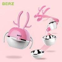 BERZ 5pcs/set Stainless Steel Feeding Tableware Solid Cute Cartoon Dish Baby Bowl Plate Spoon Spork Dinnerware Set For Children