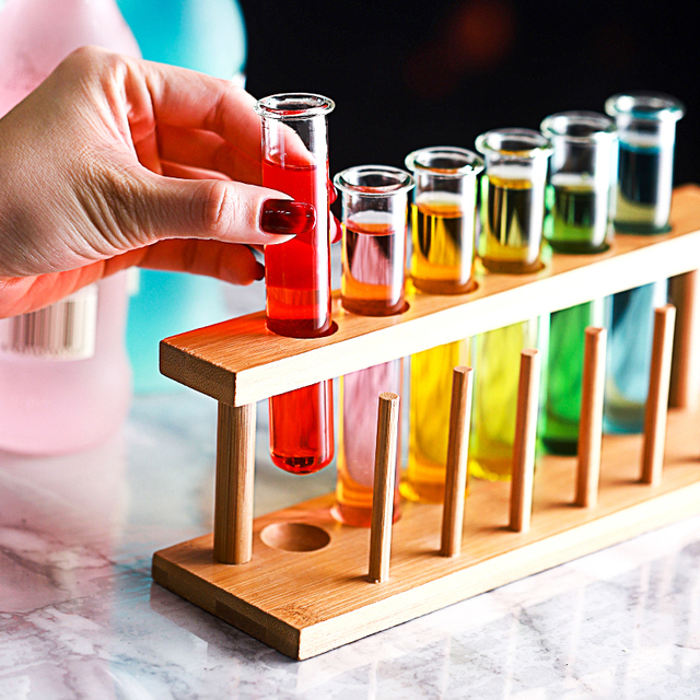 6 Pcs מבחנת קוקטייל זכוכית מתלה סט בר KTV לילה מועדון מועדון לילה בית המפלגה Shot זכוכית טיפסי מולקולרי יין כוס