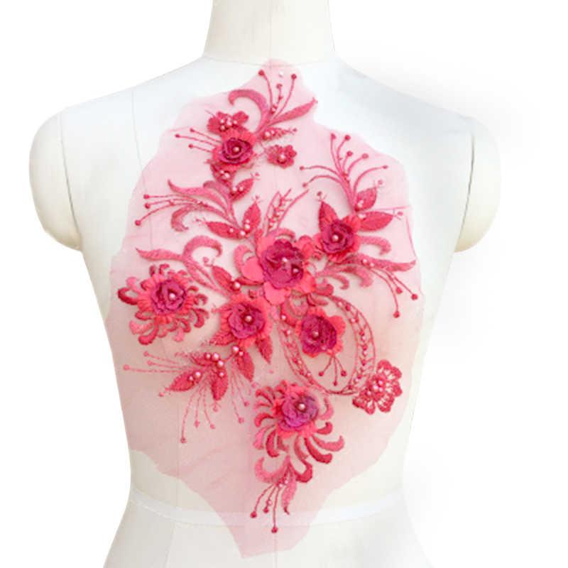 1 шт. кружевная ткань изысканные 3D кружевные цветы вырез воротник DIY аксессуары для одежды Кружева Вышивка шитьё ремесло поставки