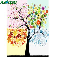 AZQSD DIY Modern Oil Painting Four Seasons Painting By Numbers Hand Paint Canvas Picture Home Decoration Flower Tree Wall Art(China)