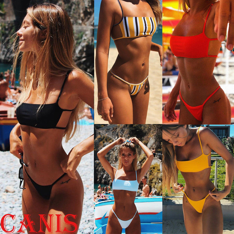 Hirigin Sext Thong Bikini Set Women Swimwear 2019 New Push Up Padded Brazilian Beachwear Biquini Swimsuit Women Bathing Suit