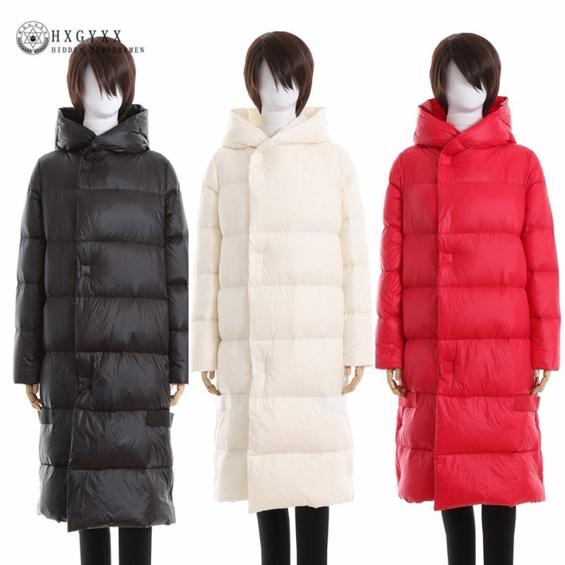 2019 Winter Puffer Jacket Women Warm Outerwear Hooded Goose Feather   Coat   Long Plus Size Thick White Duck   Down   Parka Okd570
