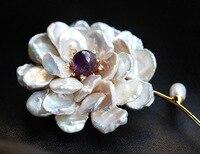 Бесплатная доставка Мода барокко Жемчуг Фиолетовый Кристалл Брошь для женщин