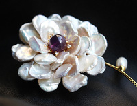 Free shipping fashion baroque pearls Purple crystal brooch for women