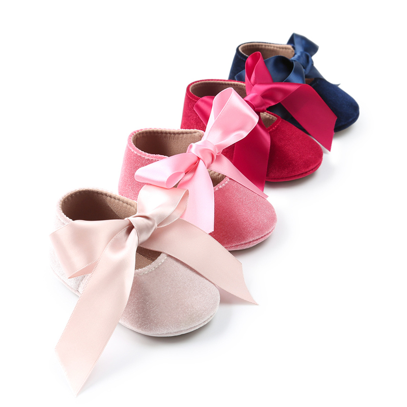 2019 Newly Sweet Lovely Casual Baby Girls Shoes Outfit Spring Summer Flannel Solid Bow Crib Shoes Outfit 0-18M Hot Sale