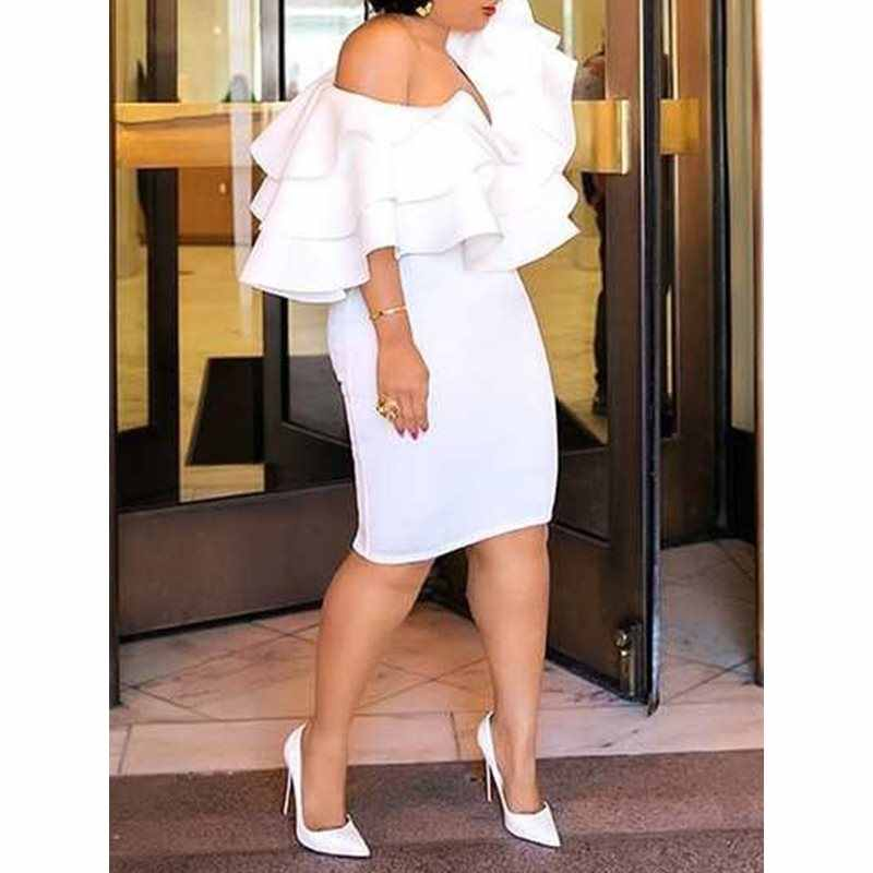 Women Ruffles Off Shoulder Dress Sexy White Bodycon Office Work Daily Robe Evening Dinner Elegant 2019 Summer Female Midi Dress
