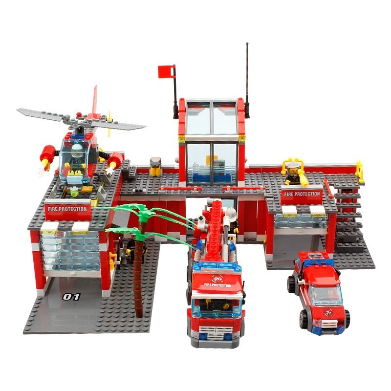 KAZI 8051 774Pcs Fire Station Helicopter Firefighter Building Blocks Brick Toy Fors Children Compatible Legoings City Firemen