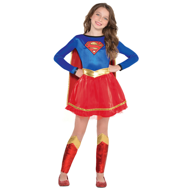 New Arrival Girls Superhero Dress Children Superman Costume Girl Fancy-Dress Halloween Party Costumes With Cape