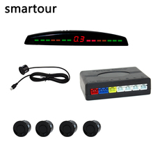 Smartour display A LED Sensore di Parcheggio Auto Multicolor Set 4 Sensori del Sistema Per La Maggior Parte Auto del Radar di Inverso di Backup Parktronic sensori