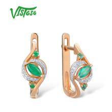купить VISTOSO Gold Earrings For Women 14K 585 Rose Gold Glamorous Elegant Pear Emerald Sparkling Diamond Luxury Trendy Fine Jewelry по цене 14539.24 рублей