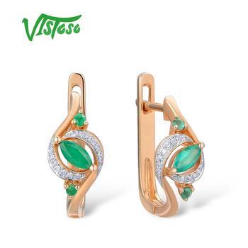 VISTOSO Gold Earrings For Women 14K 585 Rose Glamorous Elegant Pear Emerald Sparkling Diamond Luxury Trendy Fine Jewelry