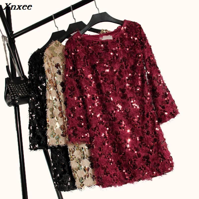 2019 autumn new female bling dresses women 39 s o neck sequined plush tassel long sleeved dress women shiny dress Xnxee in Dresses from Women 39 s Clothing