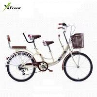 Новый бренд 22 дюймов алюминиевый графит для колес сталь мать и дети двойное сиденье 7 Скорость женский велосипед город леди Bicicleta велосипед