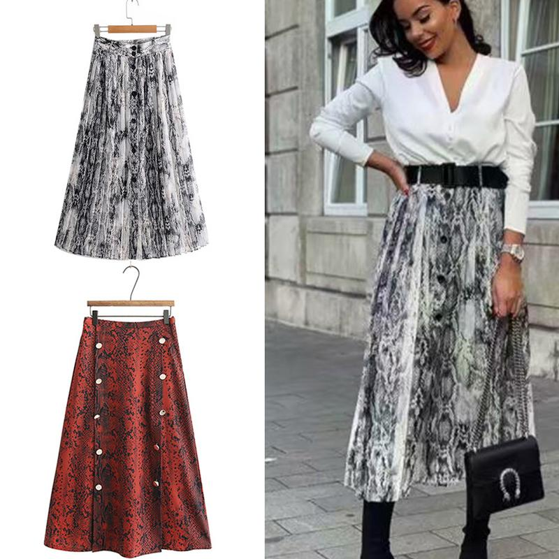European and American Snakeskin Print Pleated Skirt Fashion Sexy Clothes for Female Women