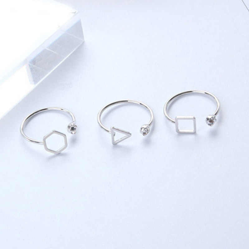 New Punk Polygon Triangle Square Open Ring Simple Geometric Crystal Lady Rings For Women