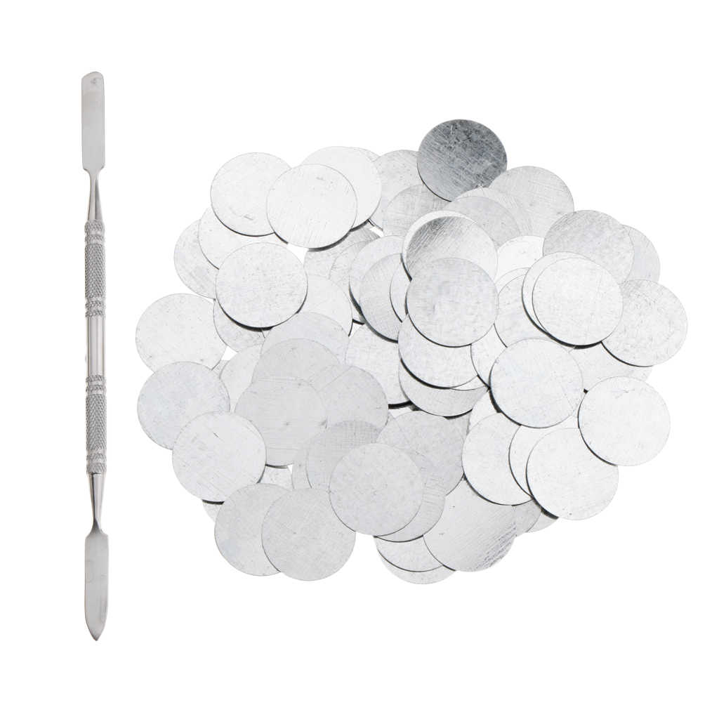 100Pcs 25mm Metal Stickers for Magnetic Palette Empty Eyeshadow Blusher Makeup Palette + Depotting Spatula