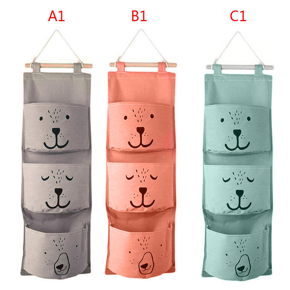 3 Pockets Cute Wall Hanging Storage Bag Closet Organizer Linen Closet Storage Bag Children Room Stuff Organizer Pouch Decor