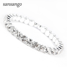 Trendy Bride 1 Row Jewelry Sliver Gold Color Full Crystal Rh