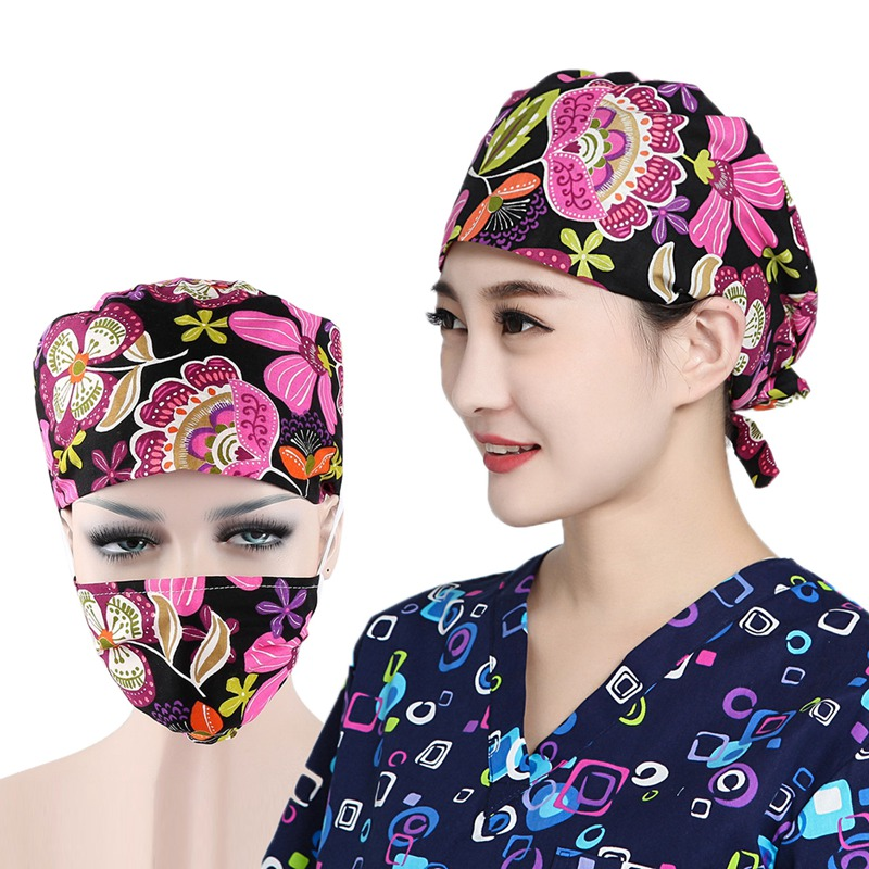 Unisex Medical Surgical Surgery Hats Doctors Nurses Surgery Caps Masks Beauty Hats and Mask Working Cap Medical Mask headpiece