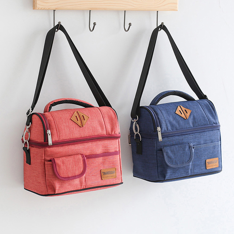 Double layer Insulation Lunch Cooler Bags Waterproof Thermo Picnic Tote Travel Container School Food Storage Pouch Accessories