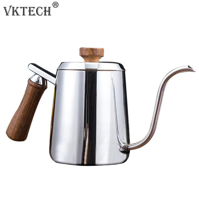 350600ML:  350/600ML Coffee Pot Stainless Steel Gooseneck Long Narrow Spout Wooden Handle Coffee Pots Teapot Coffeeware - Martin's & Co