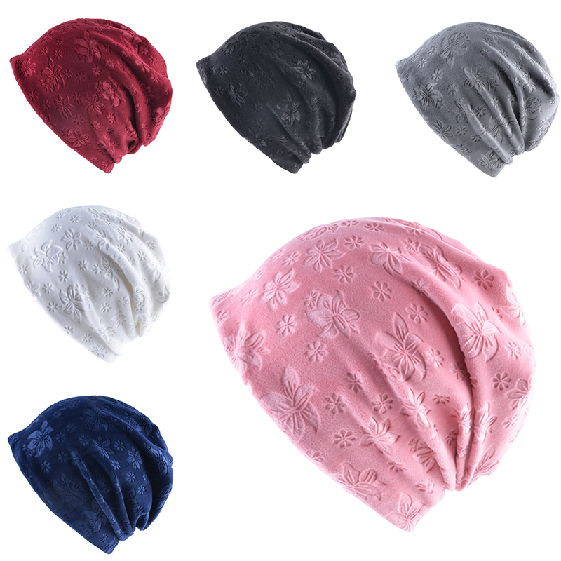 Sale Autumn Warm Winter Thicken Hat For Women Cat Ears   Skullies     Beanie   Flaps Caps Ladies Flower printing   Beanies