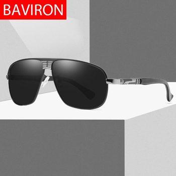 41610cf02e BAVIRON clásico Gafas de sol polarizadas hombres Matel uva uvb piloto Retro  Gafas de sol Gafas de la nave de la gota