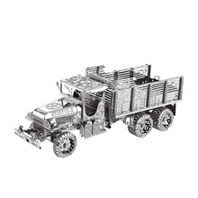 GMC 2.5T 6X6 Truck DIY 3D Metal Puzzles Military Vehicle Model Kits Laser Cut Jigsaw Adults Kids Educational Collection Toys(China)