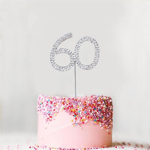 US $3 25 31% OFF Fashion Shine Cake Topper Double Row Diamond Arabic Number  60 Cake Insert Birthday Cake Decorations For Party-in Cake Decorating