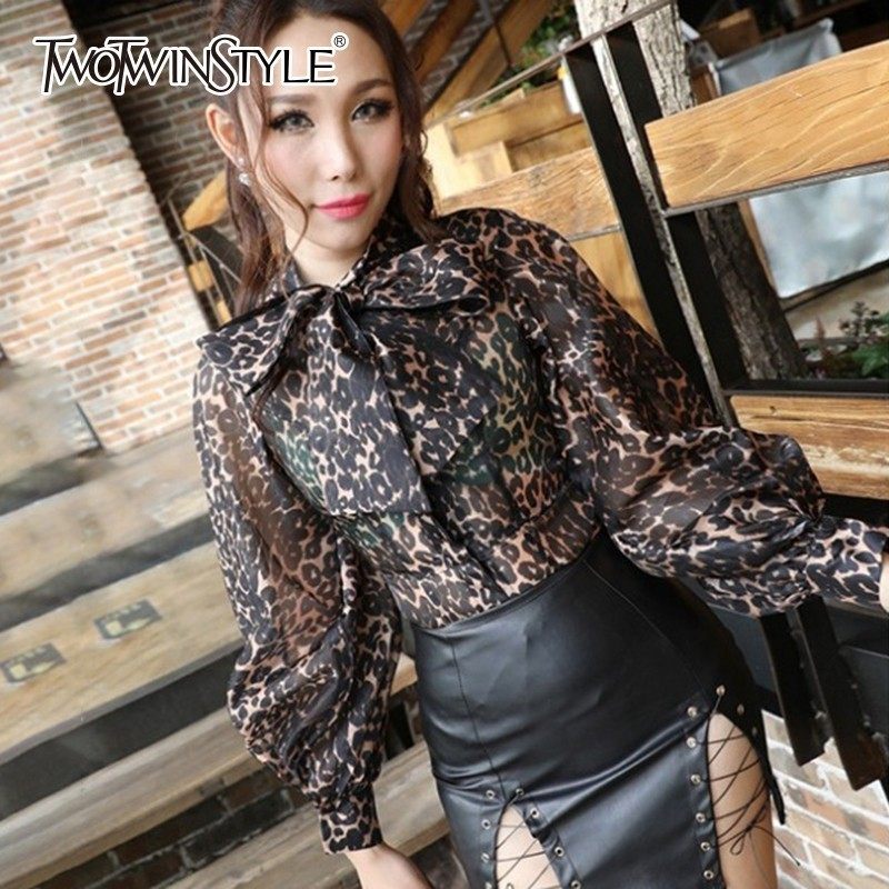 TWOTWINSTYLE Leopard Blouse Women Stand Collar Bowknot Lantern Sleeve Sexy Female Shirt Big Size Autumn Fashion Clothing Tops