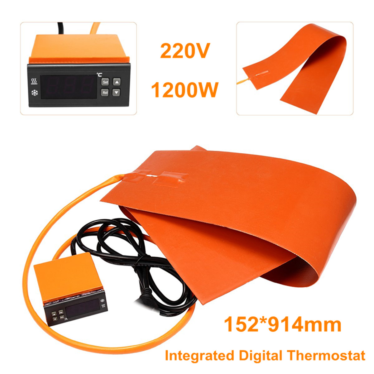 6x36'' 220V Guitar Side Bending Silicone Heat Blanket Integrated Digital Thermostat Controller Guitar Accessories 1200W