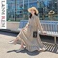 b5e7af9e0e LANMREM 2019 nueva moda estampado a rayas lazo cintura camisa tipo Vestido  de mujer de manga larga de cuello ropa Vestido YF905. US  29.93