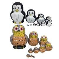 20pcs/2 Sets Wooden Russian Nesting Dolls Owl Penguin Pattern Babushka Dolls Decoration Toy Birthday Gift for Children Kids