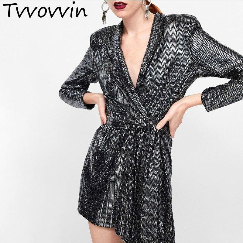 Patchwork Sequins Women's Jumpsuits V Neck Long Sleeve Bandage Playsuits Female 2019 Spring Elegant Fashion New L489