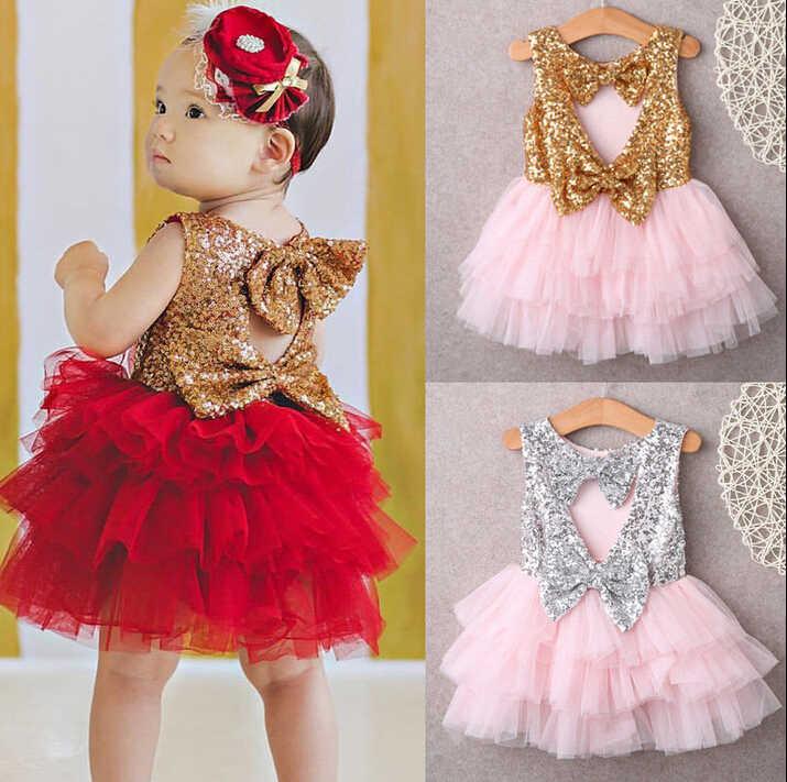 ef805a856fd ... 2-7Y chico bebé niña princesa vestidos lentejuelas espalda descubierta  lazo dorado tul volantes fiesta ...
