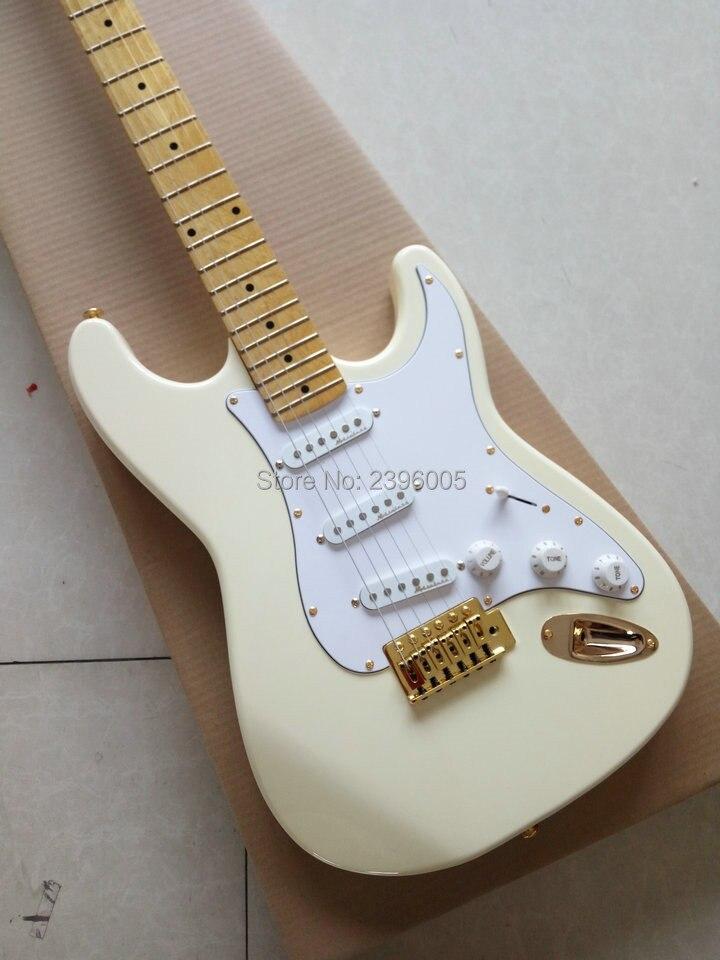 Guitare Fantasy Company, direct usine, couleur jaune crème, quincaillerie dorée, guitare électrique pro strat, livraison gratuite