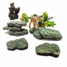 Fake Stone Artificial Hill Mountain Model Figurine Craft Miniature Fairy Garden Decoration Aquarium Ornament DIY Accessories(China)
