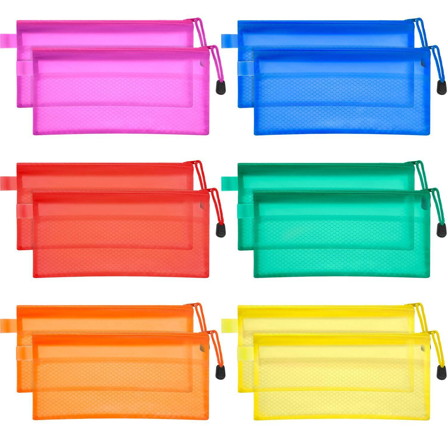 Hot-12 Pieces 6 Colors Pencil Pouch Zipper File Bags Waterproof Double Layer For Pen Bag Cosmetics Supplies Travel Accessories