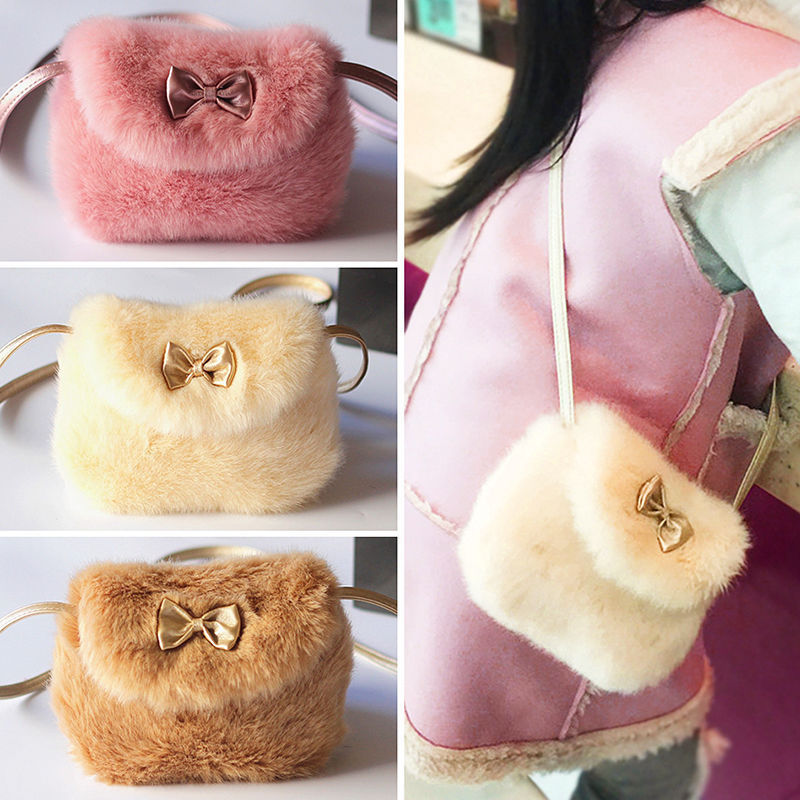 Pudcoco New Ladies Girls Children Cross Body Mini Purse Bowknot Artificial Fur Bag Kids