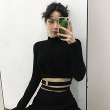 Slim Short T-shirt Women Sexy Tight Turtleneck Long Sleeve O-neck Pulloves Crop Top Solid Black Club Streetwear Harajuku