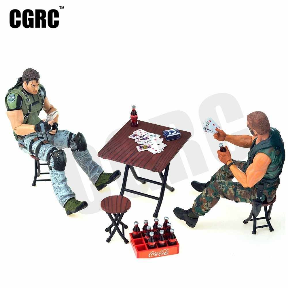 Mini Poker Cola Bottle Folding Table Chair Dollhouse For 1/10 RC Crawler Car TRX4 RC4WD D90 Axial Scx10 Decoration