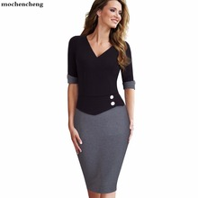 563669c275c Women Casual Wear To Work Office Business Button Sheath Fitted Pencil Dress  Elegant Classy V Neck