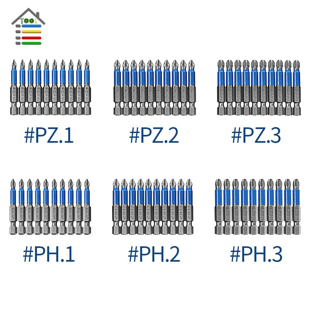 10 шт. 50 мм Нескользящие отвертки Магнитная одной головы PH1 PZ1 PH2, PZ2, PH3 PZ3 S2 Сталь Электрический инструмент немного Филлипс шестигранным хвосто...