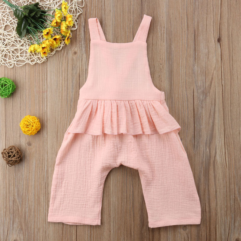 2ed786069c9 2019 Emmababy Baby Girls Pants Backless Romper Cotton And Linen Jumpsuit  Playsuit Clothes Bib Pants Ruffle Solid Outfit 0 3Y-in Overalls from Mother    Kids ...