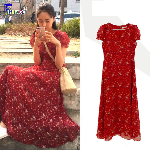 Chiffon Dresses Women Summer Korean Style Clothes Short Sleeve A Line Red Floral Printed Vintage Cute Dress Long